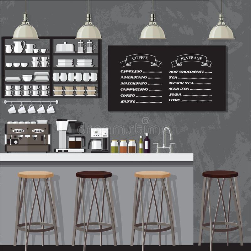 Κατάστημα Black&white coffe διανυσματική απεικόνιση