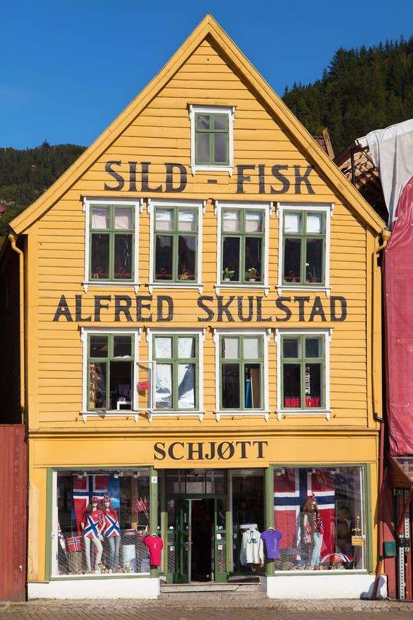 Κατάστημα sild-Fisk σε Bryggen στοκ εικόνες