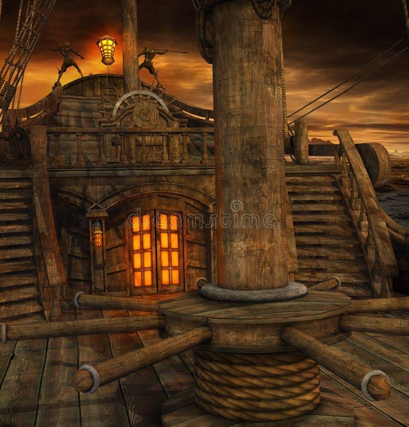 Κατάστρωμα πλοίων πειρατών με τα σκαλοπάτια στην αποθήκη διανυσματική απεικόνιση