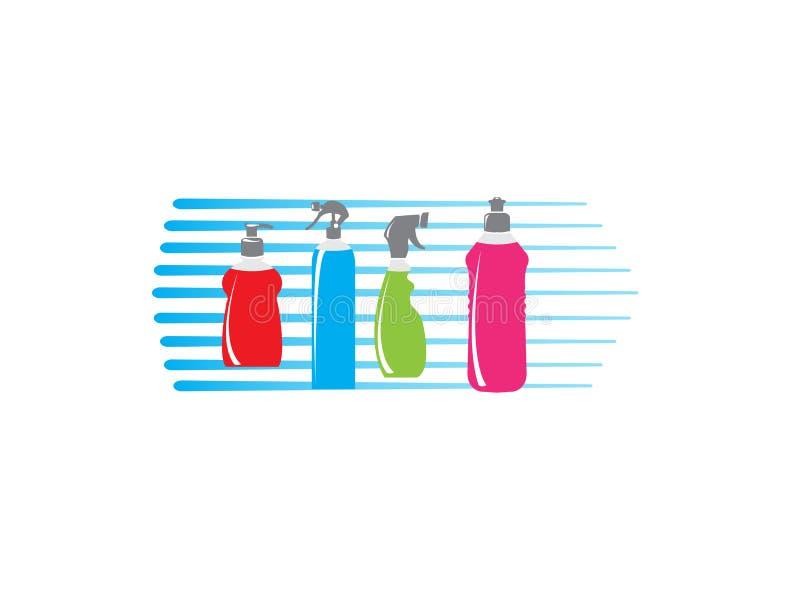 Κατάταξη των μπουκαλιών για την απεικόνιση σχεδίου λογότυπων καθαρίζοντας προϊόντων διανυσματική απεικόνιση