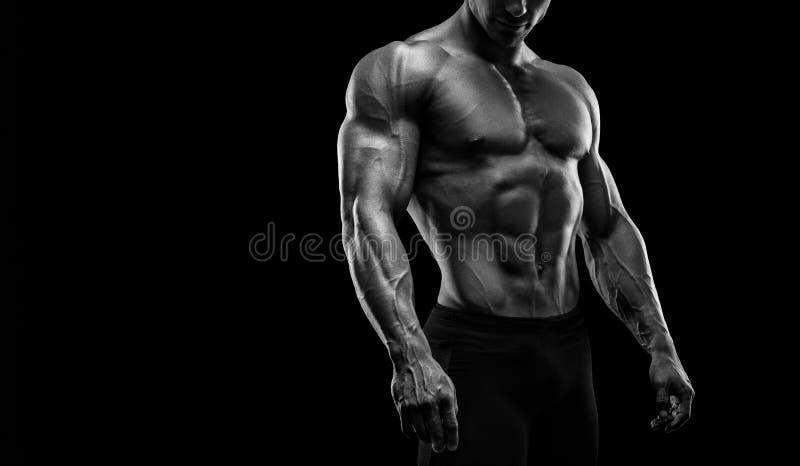 Κατάλληλη νέα τοποθέτηση bodybuilder πέρα από το μαύρο υπόβαθρο στοκ εικόνα με δικαίωμα ελεύθερης χρήσης