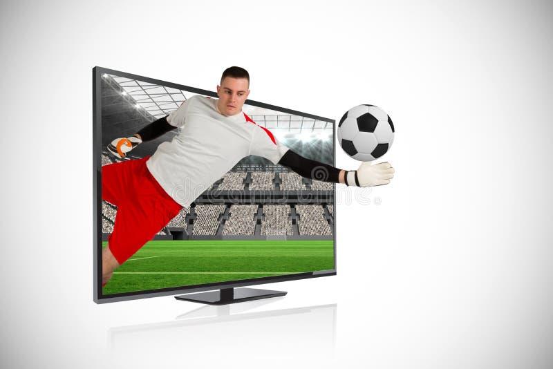 Κατάλληλος στόχος αποταμίευσης φυλάκων στόχου μέσω της TV στοκ φωτογραφία με δικαίωμα ελεύθερης χρήσης