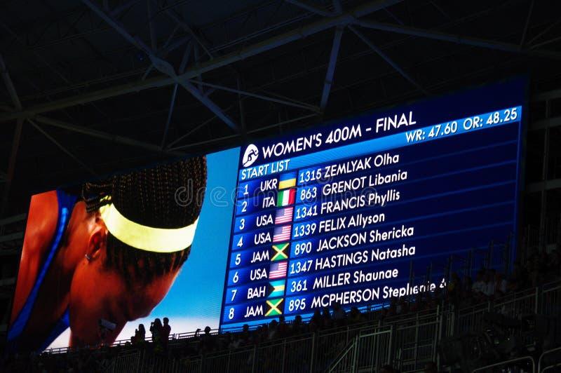 Κατάλογος έναρξης για τις γυναίκες 400m ορμή σε Rio2016 στοκ φωτογραφία με δικαίωμα ελεύθερης χρήσης