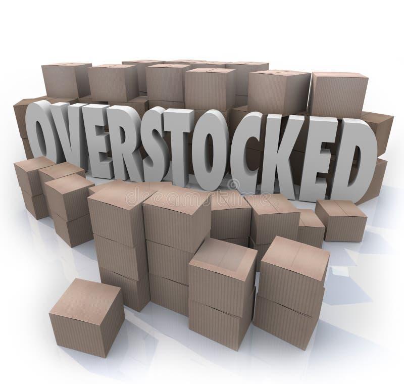 Κατάλογος αποθηκών εμπορευμάτων κουτιών από χαρτόνι λέξεων Overstocked διανυσματική απεικόνιση
