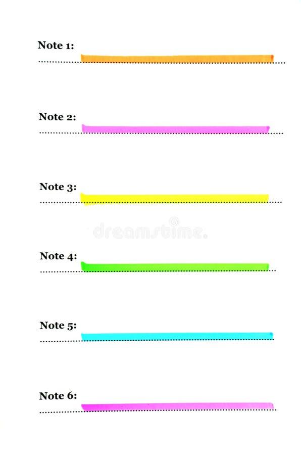 Κατάλογος για έξι χρωματισμένες σημειώσεις ελεύθερη απεικόνιση δικαιώματος