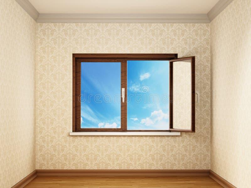 Κατά το ήμισυ ανοικτά παράθυρα μέσα σε ένα κενό δωμάτιο που ανοίγει στο μπλε ουρανό r ελεύθερη απεικόνιση δικαιώματος