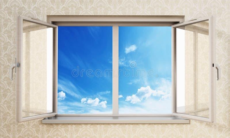 Κατά το ήμισυ ανοικτά παράθυρα μέσα σε ένα κενό δωμάτιο που ανοίγει στο μπλε ουρανό r διανυσματική απεικόνιση