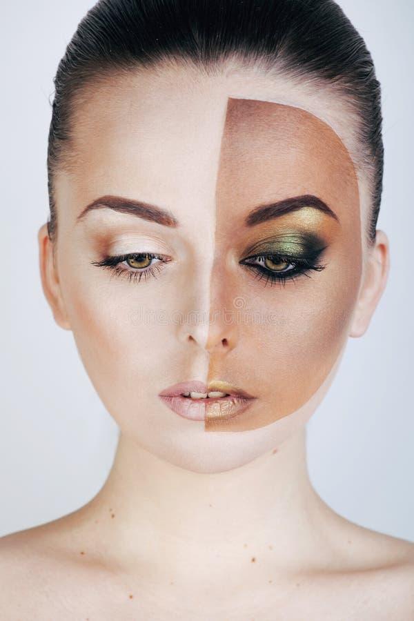 Κατά το ήμισυ αντιμέτωπη γυναίκα πρίν μαυρίζει και μετά από, στοκ εικόνες