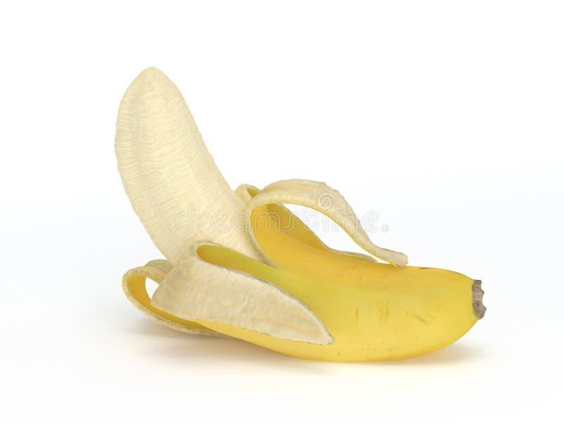 Κατά το ήμισυ ξεφλουδισμένη μπανάνα που απομονώνεται στο άσπρο υπόβαθρο απεικόνιση αποθεμάτων