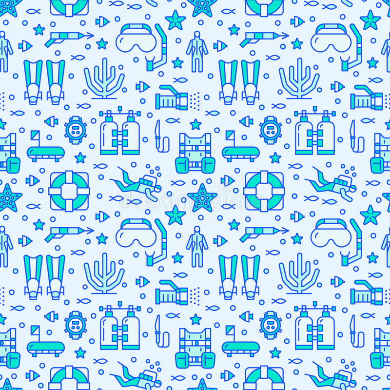 Κατάδυση σκαφάνδρων, κολυμπώντας με αναπνευτήρα άνευ ραφής σχέδιο, αθλητικό διανυσματικό μπλε υπόβαθρο νερού Χαριτωμένη επαναλαμβ απεικόνιση αποθεμάτων