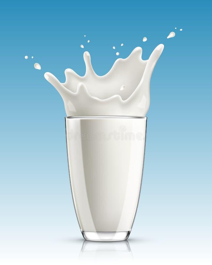 Καταβρέχοντας γάλα στο γυαλί διανυσματική απεικόνιση