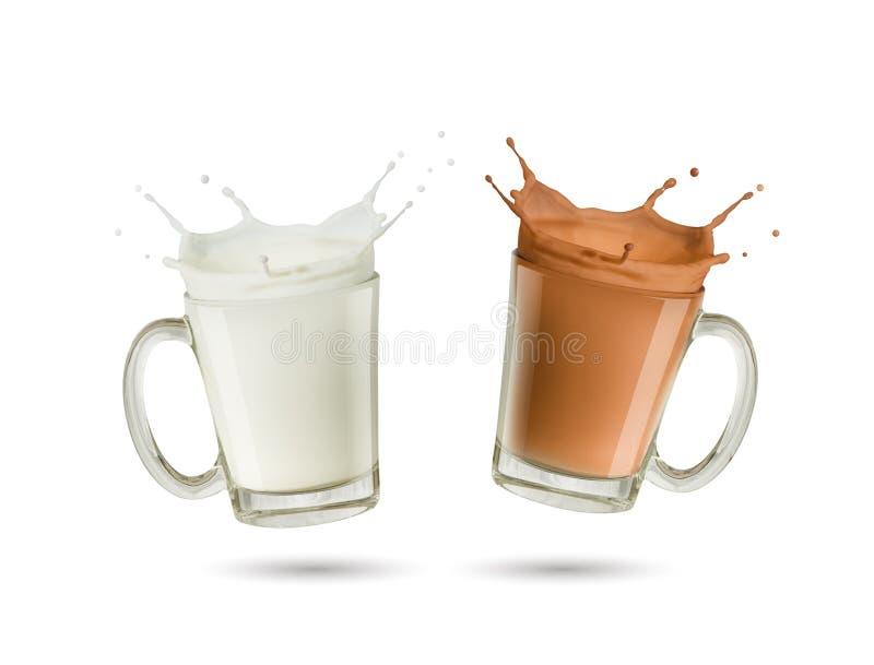 Καταβρέχοντας γάλα και γάλα σοκολάτας στο γυαλί στοκ φωτογραφία με δικαίωμα ελεύθερης χρήσης