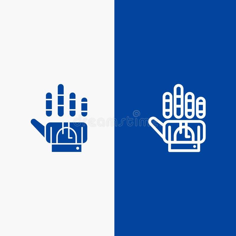 Καταδίωξη, γάντι, χέρι, γραμμή τεχνολογίας και στερεά γραμμή εμβλημάτων εικονιδίων Glyph μπλε και στερεό μπλε έμβλημα εικονιδίων  ελεύθερη απεικόνιση δικαιώματος