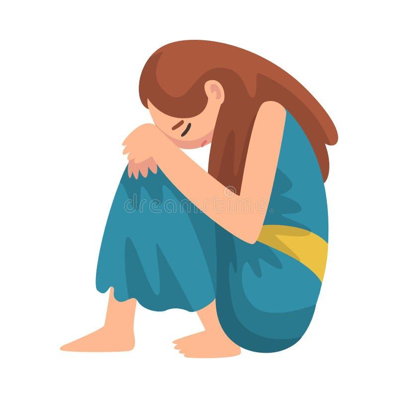 Καταθλιπτική συνεδρίαση κοριτσιών στο πάτωμα που αγκαλιάζει τα γόνατά της, δυστυχισμένος τονισμένος έφηβος, μόνο, ανήσυχο, κακομε απεικόνιση αποθεμάτων