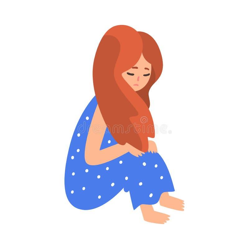Καταθλιπτική συνεδρίαση κοριτσιών στο πάτωμα που αγκαλιάζει τα γόνατά της, δυστυχισμένος έφηβος, μόνη, ανήσυχη, κακομεταχειρισμέν ελεύθερη απεικόνιση δικαιώματος