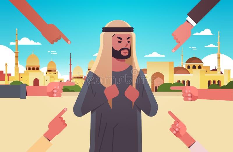 Καταθλιπτικός Άραβας που δέχεται απειλές περικυκλωμένος από χέρια, τον κοροϊδεύουν για τη βία που εκφοβίζει την έννοια του κοινων διανυσματική απεικόνιση