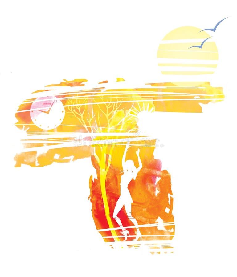 Χορεύοντας κορίτσι Καταθλιπτικό τοπίο φθινοπώρου Άφυλλα δέντρα και ρολόγια Ήλιος και μόνα πουλιά διανυσματική απεικόνιση