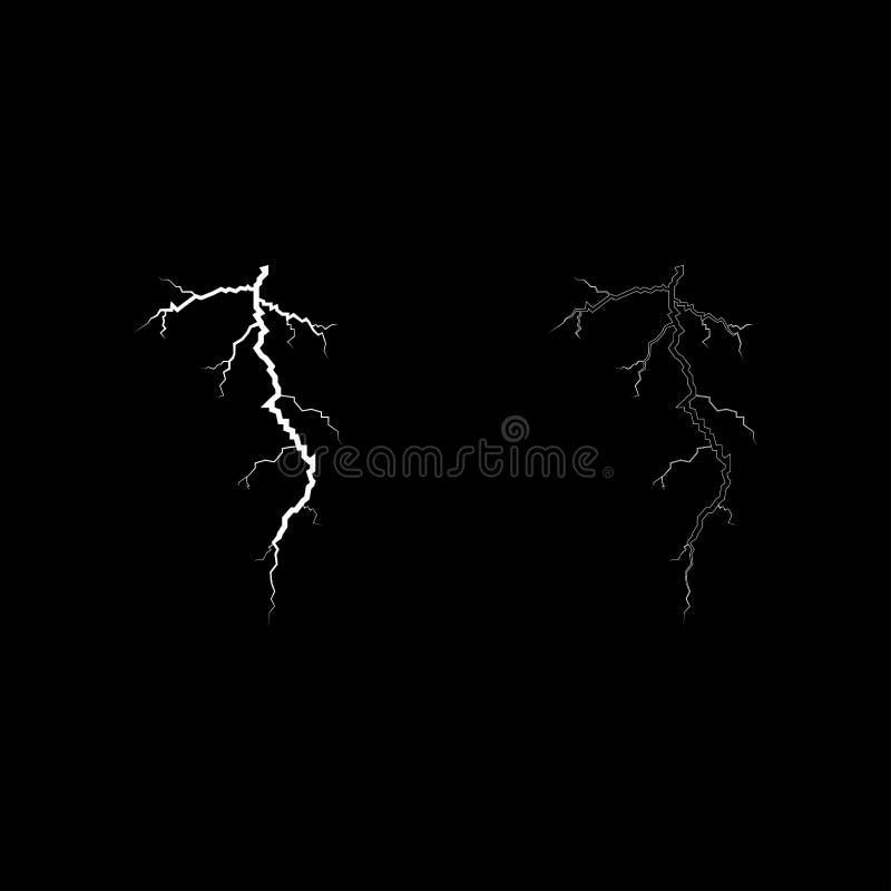 Καταιγίδας ρωγμών εικονιδίων καθορισμένη άσπρη απλή εικόνα ύφους έγχρωμης εικονογράφησης επίπεδη απεικόνιση αποθεμάτων