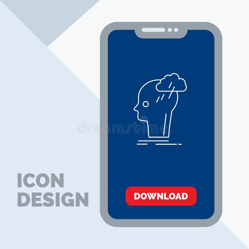Καταιγισμός ιδεών, δημιουργικός, επικεφαλής, ιδέα, εικονίδιο γραμμών σκέψης σε κινητό για Download τη σελίδα απεικόνιση αποθεμάτων