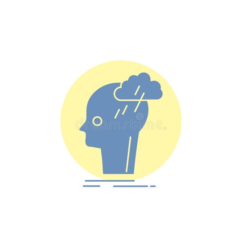 Καταιγισμός ιδεών, δημιουργικός, επικεφαλής, ιδέα, εικονίδιο σκέψης Glyph διανυσματική απεικόνιση