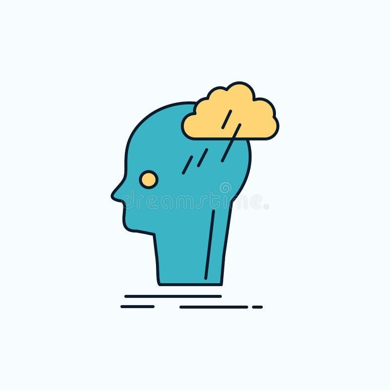 Καταιγισμός ιδεών, δημιουργικός, επικεφαλής, ιδέα, επίπεδο εικονίδιο σκέψης r r διανυσματική απεικόνιση
