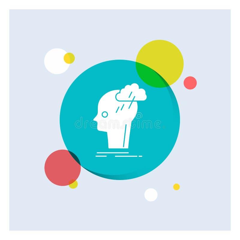 Καταιγισμός ιδεών, δημιουργικός, επικεφαλής, ιδέα, σκέψης άσπρο Glyph υπόβαθρο κύκλων εικονιδίων ζωηρόχρωμο απεικόνιση αποθεμάτων