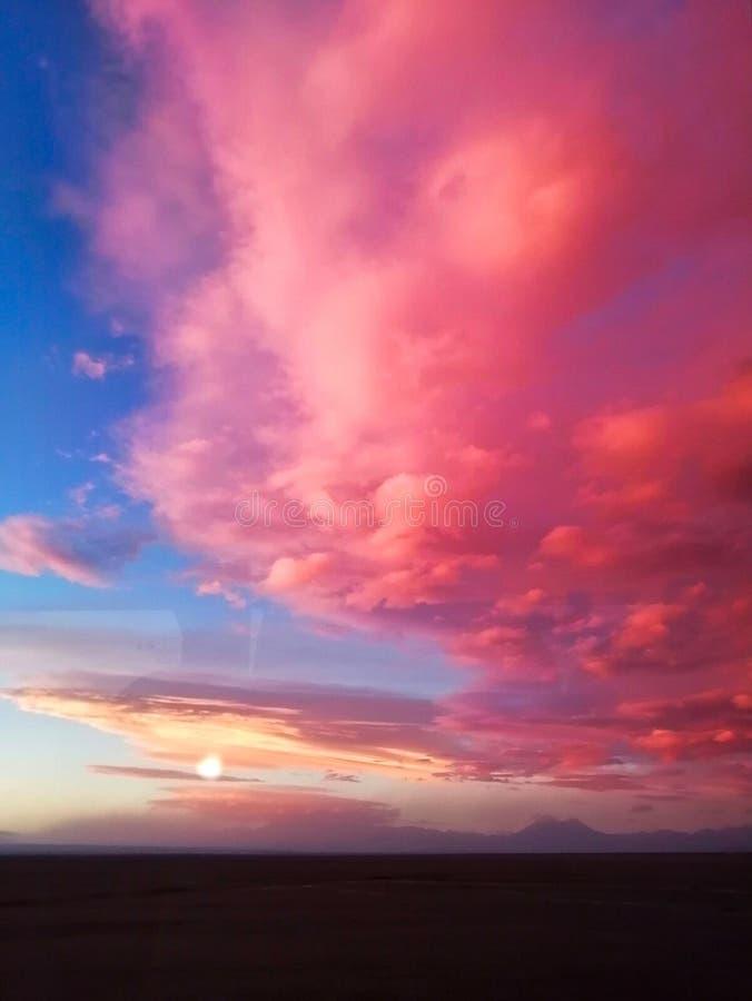 Κατακόρυφη λήψη του συναρπαστικού ροζ ηλιοβασίλεμα πάνω από την παραλία στοκ εικόνες