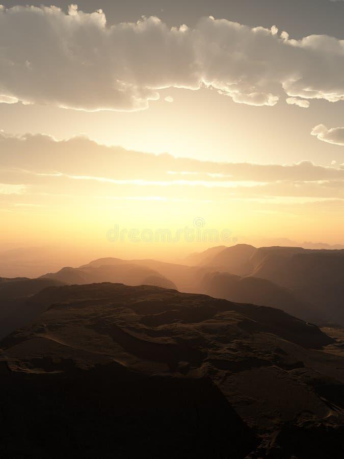 Κατακόρυφος ηλιοβασιλέματος νεφελωδών και ερήμων της Misty διανυσματική απεικόνιση