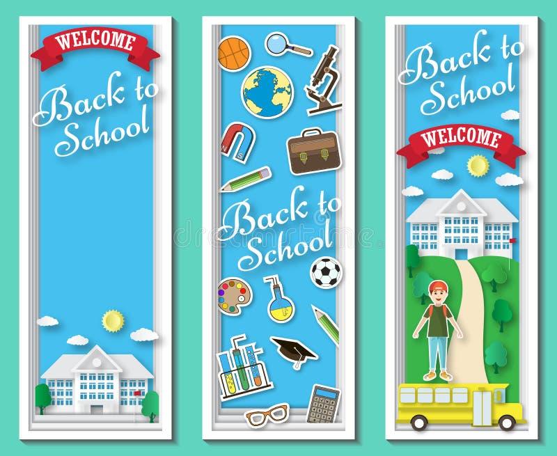 Κατακόρυφος τρία πίσω στα σχολικά διανυσματικά πλαίσια και τα εμβλήματα με τα χαρτικά και το σχολικό κτίριο doodle στο μπλε υπόβα απεικόνιση αποθεμάτων