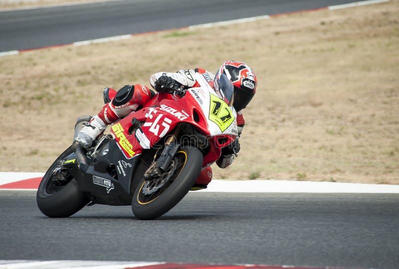ΚΑΤΑΛΑΝΙΚΟ ΠΡΩΤΑΘΛΗΜΑ MOTORCYCLING - Raul Mendo στοκ εικόνα με δικαίωμα ελεύθερης χρήσης