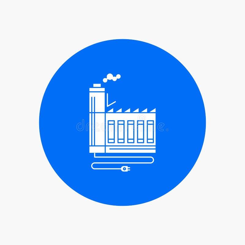 Κατανάλωση, πόρος, ενέργεια, εργοστάσιο, άσπρο Glyph εικονίδιο κατασκευής στον κύκλο Διανυσματική απεικόνιση κουμπιών διανυσματική απεικόνιση