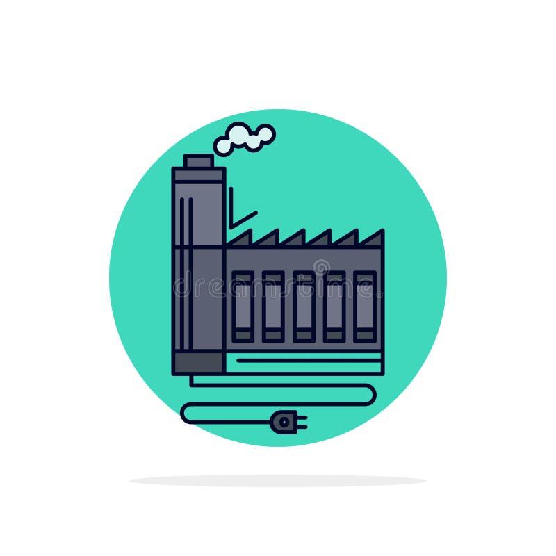 Κατανάλωση, πόρος, ενέργεια, εργοστάσιο, διάνυσμα εικονιδίων χρώματος κατασκευής επίπεδο απεικόνιση αποθεμάτων