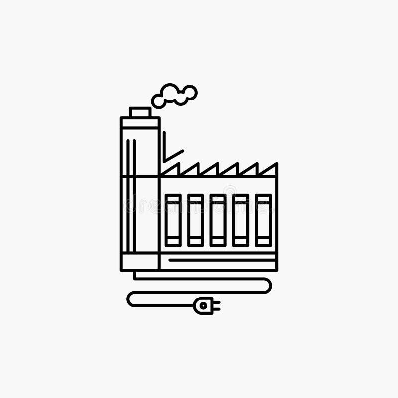 Κατανάλωση, πόρος, ενέργεια, εργοστάσιο, εικονίδιο γραμμών κατασκευής : απεικόνιση αποθεμάτων