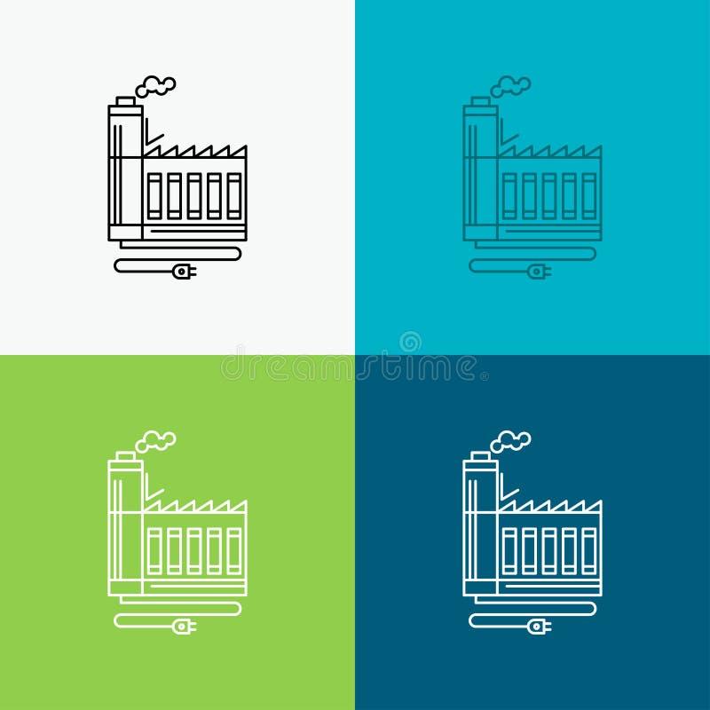 Κατανάλωση, πόρος, ενέργεια, εργοστάσιο, εικονίδιο κατασκευής πέρα από το διάφορο υπόβαθρο Σχέδιο ύφους γραμμών, που σχεδιάζεται  απεικόνιση αποθεμάτων