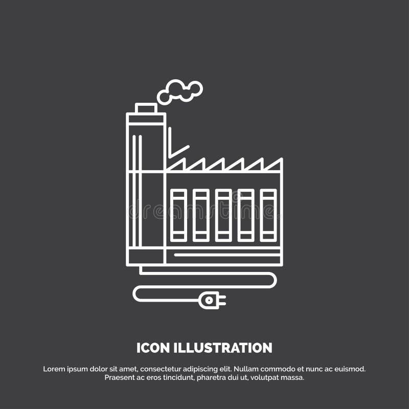 Κατανάλωση, πόρος, ενέργεια, εργοστάσιο, εικονίδιο κατασκευής Διανυσματικό σύμβολο γραμμών για UI και UX, τον ιστοχώρο ή την κινη απεικόνιση αποθεμάτων