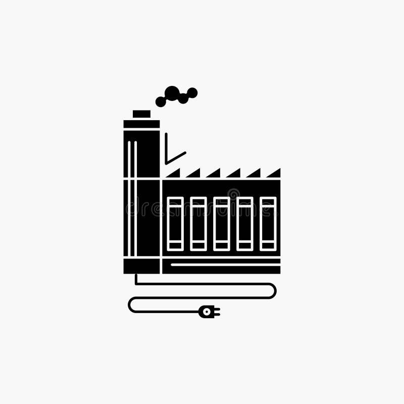 Κατανάλωση, πόρος, ενέργεια, εργοστάσιο, εικονίδιο κατασκευής Glyph : διανυσματική απεικόνιση