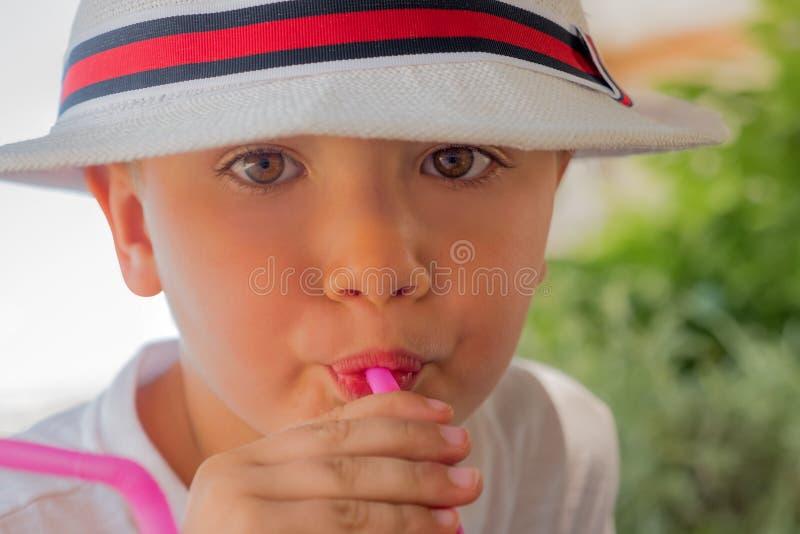 Κατανάλωση υπαίθρια Θερινά ποτά για τα παιδιά Φυσικά ποτά Έννοια ευτυχίας Διακινούμενη έννοια Πράσινος τουρισμός r στοκ φωτογραφία με δικαίωμα ελεύθερης χρήσης