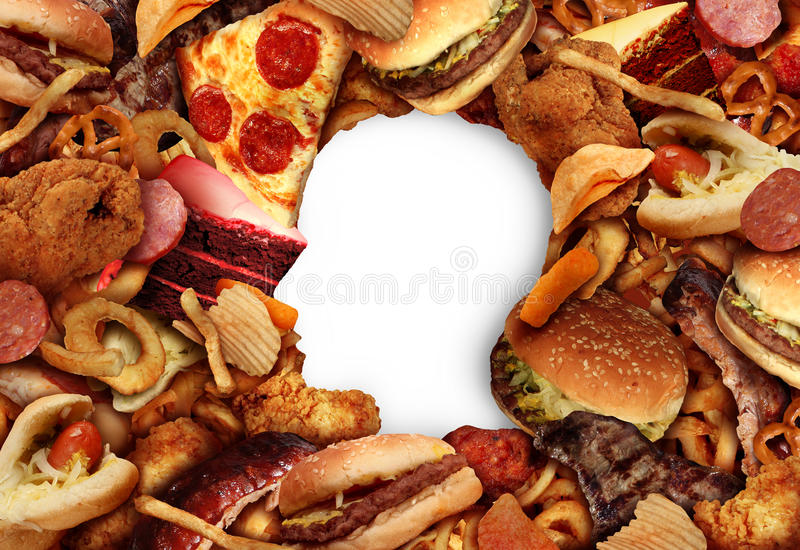 Κατανάλωση των λιπαρών τροφίμων ελεύθερη απεικόνιση δικαιώματος