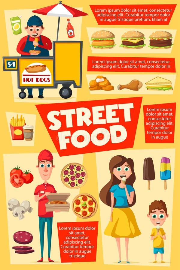 Καταναλωτές και πωλητές, παράδοση τροφίμων οδών διανυσματική απεικόνιση