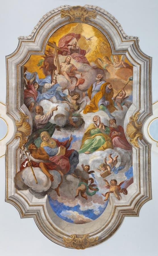 ΚΑΤΑΝΙΑ, ΙΤΑΛΙΑ - 8 ΑΠΡΙΛΊΟΥ 2018: Η ανώτατη νωπογραφία της αποθέωση του ST Joseph στην εκκλησία Chiesa Di SAN Giuseppe σε Transi στοκ φωτογραφίες