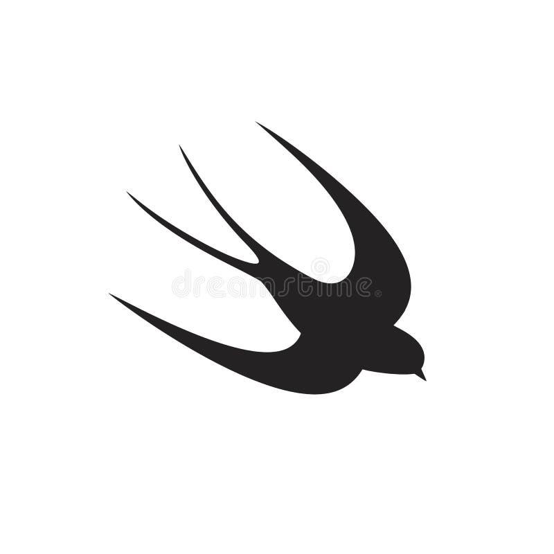 Καταπιείτε τη σκιαγραφία Απομονωμένος καταπιείτε στο άσπρο backgroun Πουλί απεικόνιση αποθεμάτων