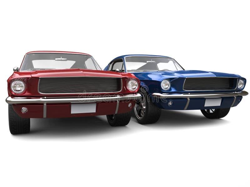 Καταπληκτικά εκλεκτής ποιότητας αμερικανικά αυτοκίνητα μυών - κόκκινο και μπλε ελεύθερη απεικόνιση δικαιώματος