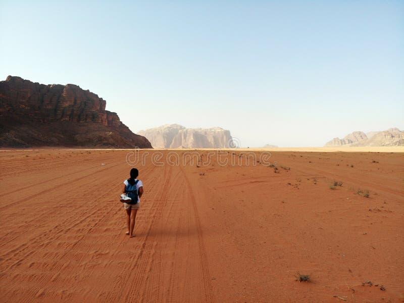 Καταπληκτική άποψη άνωθεν σχετικά με το τεράστιο, κόκκινο, καυτό και πολύ όμορφο ρούμι Wadi ερήμων Βασίλειο της Ιορδανίας, αραβικ στοκ εικόνα