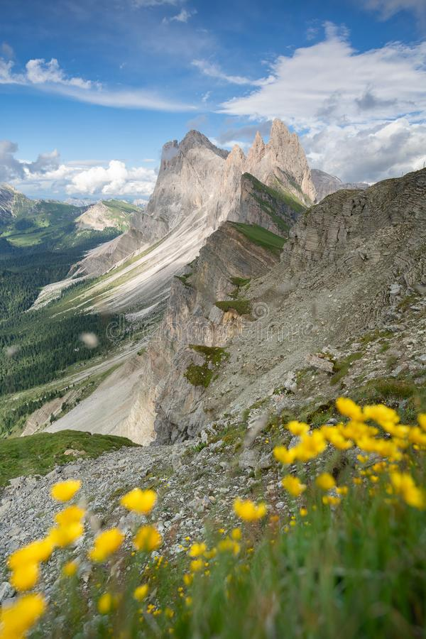Καταπληκτική άποψη τοπίων του πράσινου βουνού με το μπλε ουρανό στο καλοκαίρι από τους δολομίτες, Ιταλία στοκ φωτογραφίες