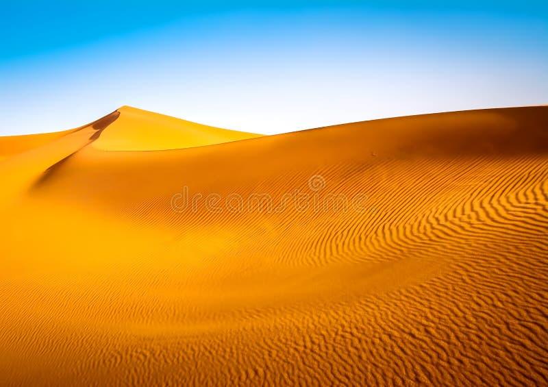 Καταπληκτική άποψη των αμμόλοφων άμμου στην έρημο Σαχάρας Θέση: Sahar διανυσματική απεικόνιση