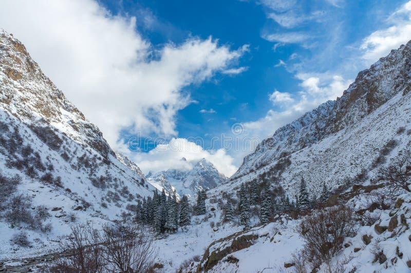 Καταπληκτική άποψη των χειμερινών βουνών που εισβάλλονται στοκ φωτογραφίες με δικαίωμα ελεύθερης χρήσης