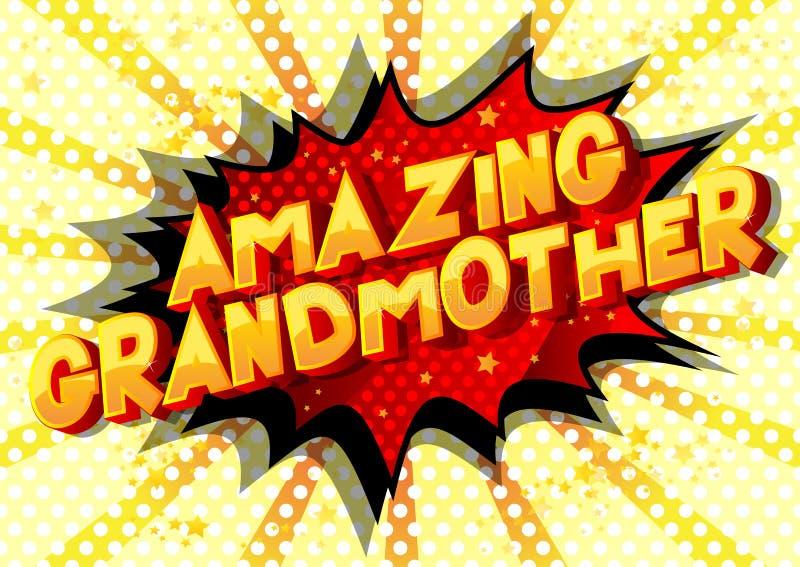 Καταπληκτική γιαγιά - λέξεις ύφους κόμικς διανυσματική απεικόνιση