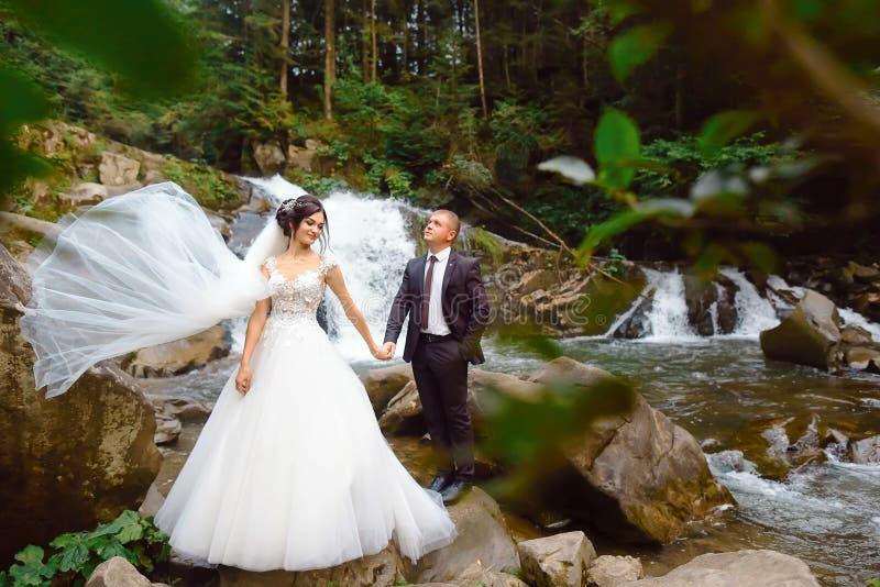 Καταπληκτική ρομαντική άποψη της ευτυχούς νύφης με το νεόνυμφο κοντά στον όμορφο μεγάλο καταρράκτη στο βουνό Πολυτελές γαμήλιο φό στοκ εικόνα με δικαίωμα ελεύθερης χρήσης