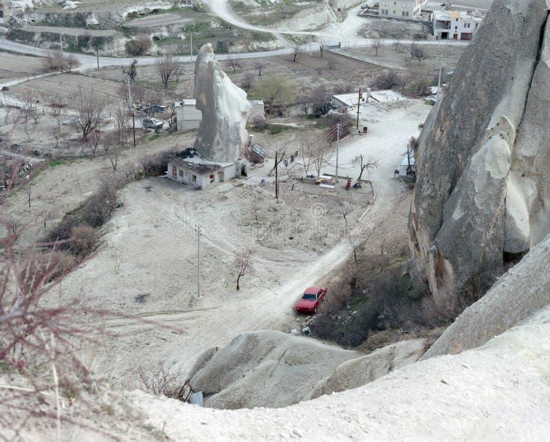 Καταπληκτική σχηματισμός βράχου, φύση και πόλη σε Cappadocia, Nevsehir, Τουρκία στοκ φωτογραφίες με δικαίωμα ελεύθερης χρήσης