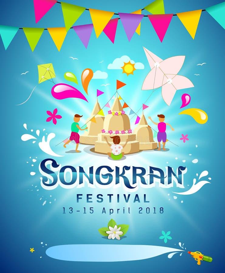 Καταπληκτικός Songkran παφλασμός νερού φεστιβάλ εκλεκτής ποιότητας διανυσματική απεικόνιση